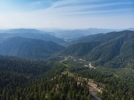 Beauty day in the mountains in Altay, panoramic picture. Aerial shot on drone