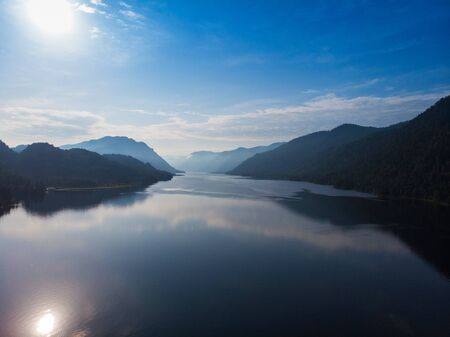 Aerial view on Teletskoye lake in Altai mountains, Siberia, Russia. Drone shot. Beauty summer day. Stock Photo