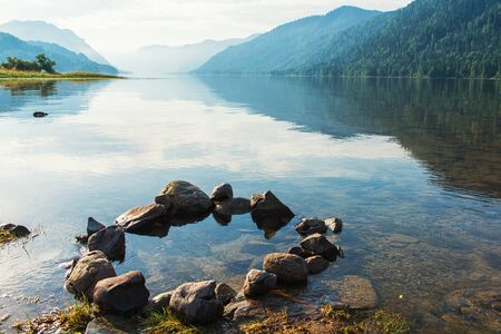 Teletskoye lake in Altai mountains, Siberia, Russia. Beauty summer morning.