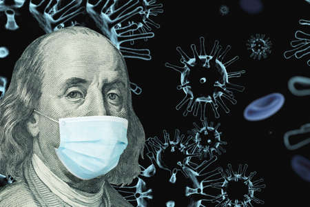 Benjamin Ben Franklin isolated face from 100 dollar banknote with a face mask on covid background. Concept of the global financial crisis and pandemic