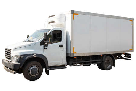 White refrigerated truck side view isolated on white 免版税图像