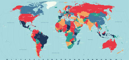 Vector Timezone world map color illustration. Vector editable illustration. Trending color scheme