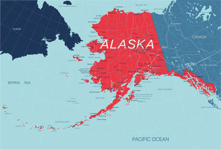 Alaska State Political map of the United States with capital Juneau, national borders, cities and towns, rivers and lakes.
