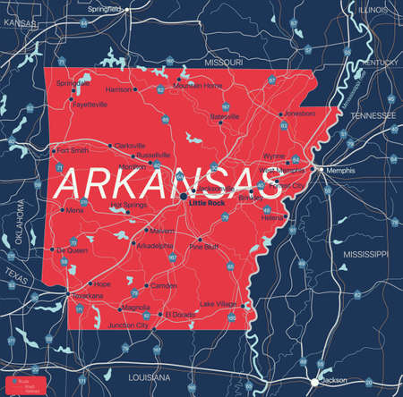 Arkanzas state detailed editable map with with cities and towns, geographic sites, roads, railways, interstates and U.S. highways. Vector EPS-10 file, trending color scheme