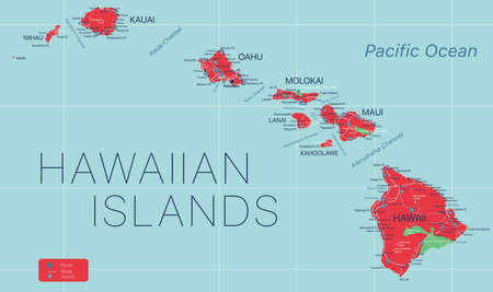 Hawaii state detailed editable map with cities and towns, geographic sites, roads, railways, interstates and U.S. highways.
