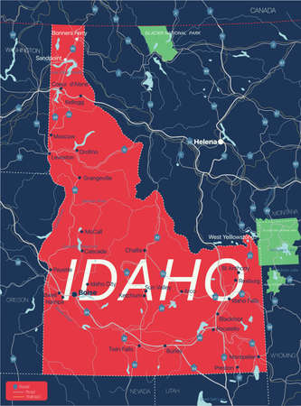 Idaho state detailed editable map with cities and towns, geographic sites, roads, railways, interstates and U.S. highways.