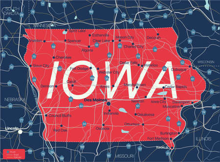 Iowa state detailed editable map with cities and towns, geographic sites, roads, railways, interstates and U.S. highways.