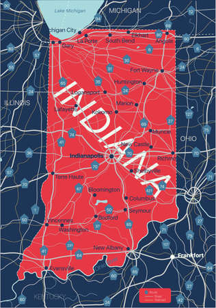 Indiana state detailed editable map with cities and towns, geographic sites, roads, railways, interstates and U.S. highways.