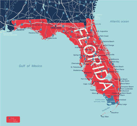 Florida state detailed editable map with cities and towns, geographic sites, roads, railways, interstates and U.S. highways.