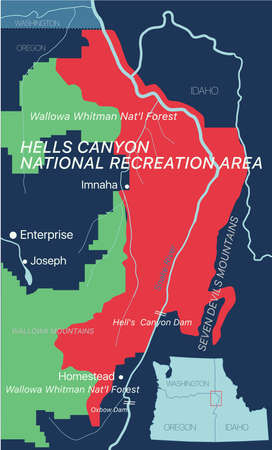 Hells Canyon editable map with cities and towns, geographic sites.