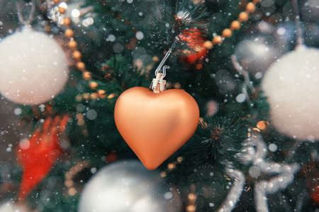 Christmas or New Year background with festive fir tree and christmas decorations