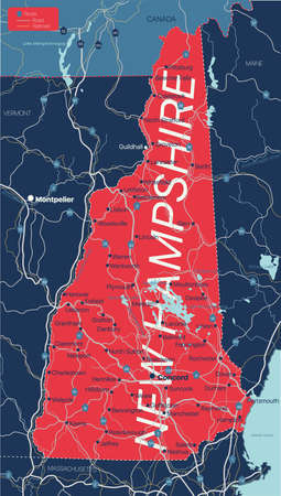 New Hampshire state detailed editable map with cities and towns, geographic sites, roads, railways, interstates and U.S. highways. Illustration