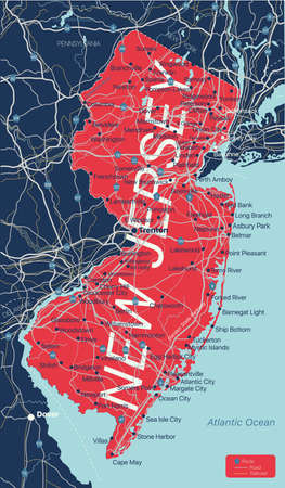 New Jersey state detailed editable map with cities and towns, geographic sites, roads, railways, interstates and U.S. highways.