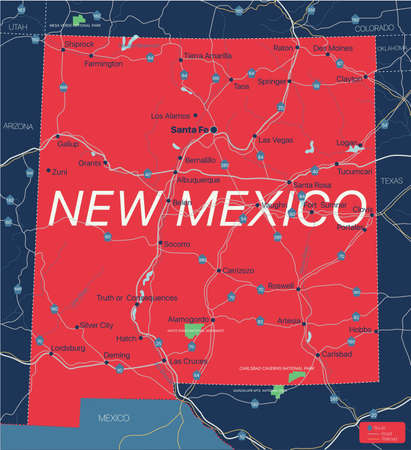 New Mexico state detailed editable map with cities and towns, geographic sites, roads, railways, interstates and U.S. highways. Illustration