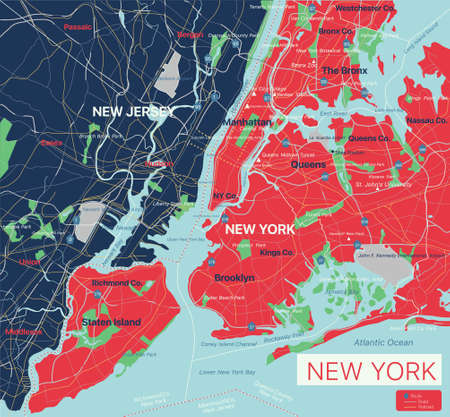 New York city detailed editable map with cities and towns, geographic sites, roads, railways, interstates and U.S. highways.