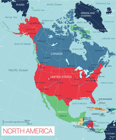 North America detailed editable map with cities and towns, geographic sites.