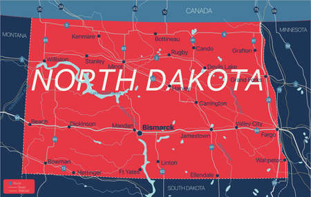 North Dacota state detailed editable map with cities and towns, geographic sites, roads, railways, interstates and U.S. highways.