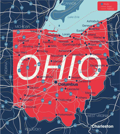 Ohio state detailed editable map with cities and towns, geographic sites, roads, railways, interstates and U.S. highways.