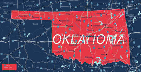 Oklahoma state detailed editable map with cities and towns, geographic sites, roads, railways, interstates and U.S. highways.