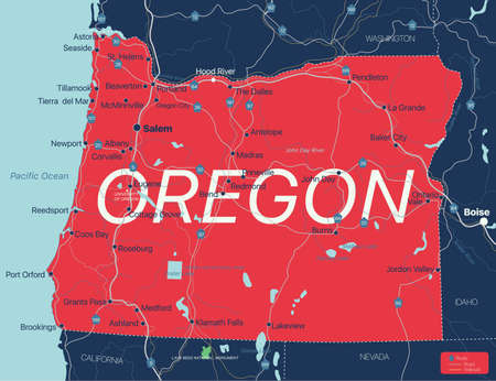 Oregon state detailed editable map with cities and towns, geographic sites, roads, railways, interstates and U.S. highways.