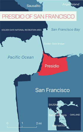 Presidio of San Francisco editable map with cities and towns, geographic sites. Illustration