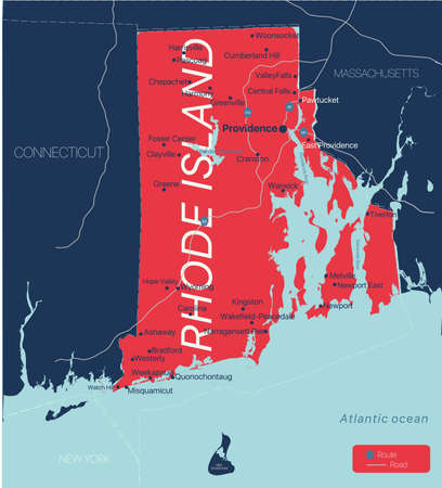 Rhode Island state detailed editable map with cities and towns, geographic sites, roads, railways, interstates and U.S. highways.