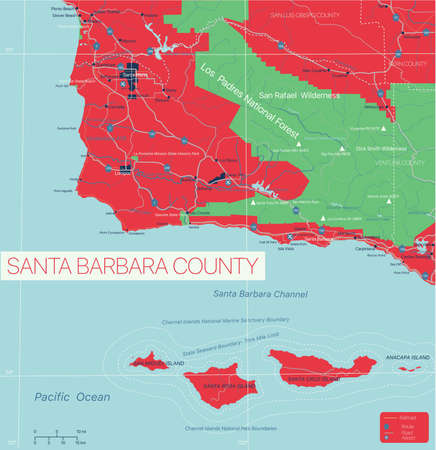 Santa Barbara County detailed editable map with cities and towns, geographic sites, roads, railways, interstates and U.S. highways.
