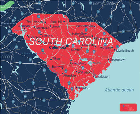 South Carolina state detailed editable map with cities and towns, geographic sites, roads, railways, interstates and U.S. highways.