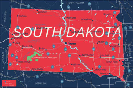 South Dacota state detailed editable map with cities and towns, geographic sites, roads, railways, interstates and U.S. highways.