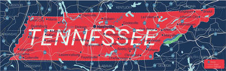 Tennesy state detailed editable map with cities and towns, geographic sites, roads, railways, interstates and U.S. highways. Illustration