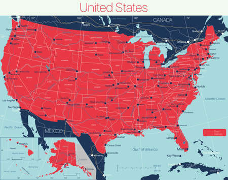 United States of America detailed editable map with cities and towns, geographic sites, roads. Illustration