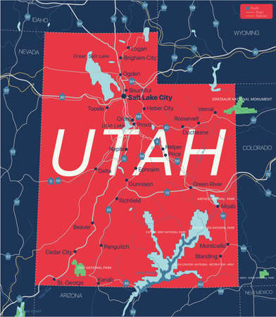 Utah state detailed editable map with cities and towns, geographic sites, roads, railways, interstates and U.S. highways.