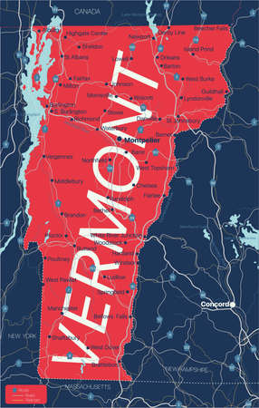 Vermont state detailed editable map with cities and towns, geographic sites, roads, railways, interstates and U.S. highways.