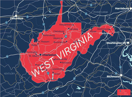 West Viginia state detailed editable map with cities and towns, geographic sites, roads, railways, interstates and U.S. highways. Illustration