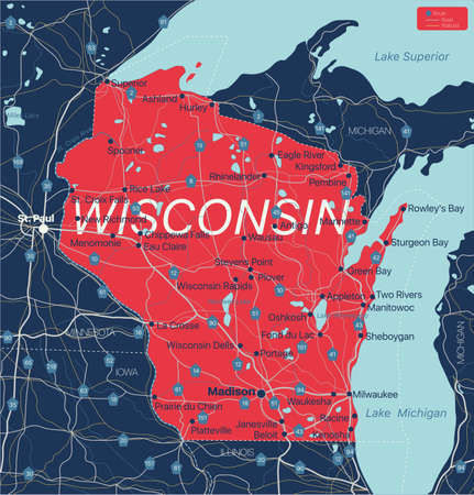 Wisconsin state detailed editable map with cities and towns, geographic sites, roads, railways, interstates and U.S. highways.