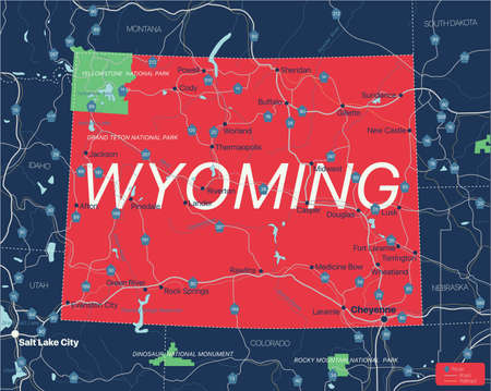 Wyoming state detailed editable map with cities and towns, geographic sites, roads, railways, interstates and U.S. highways. Illusztráció