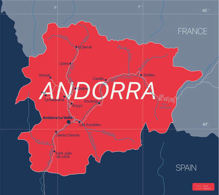 Andorra country detailed editable map with cities and towns, roads.