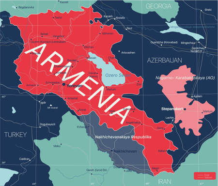 Armenia country detailed editable map with cities and towns, roads and railways.