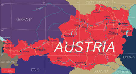 Austria country detailed editable map with cities and towns, roads and railways.