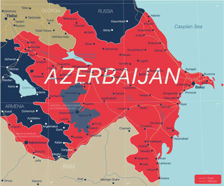 Azerbaijan country detailed editable map with cities and towns, roads and railways.