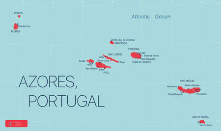 Azores islands, Portugal, detailed editable map with cities and towns, roads and railways.