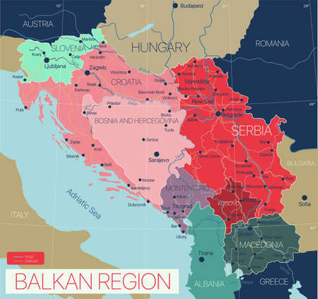 Balkan region detailed editable map with cities and towns, roads and railways.
