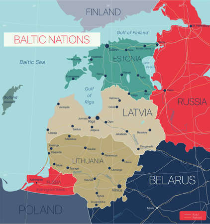 Baltic nations region detailed editable map with cities and towns, roads and railways.