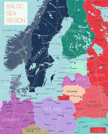 Baltic region detailed editable map with cities and towns, roads and railways.