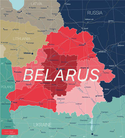 Belarus country detailed editable map with regions cities and towns, roads and railways, geographic sites.