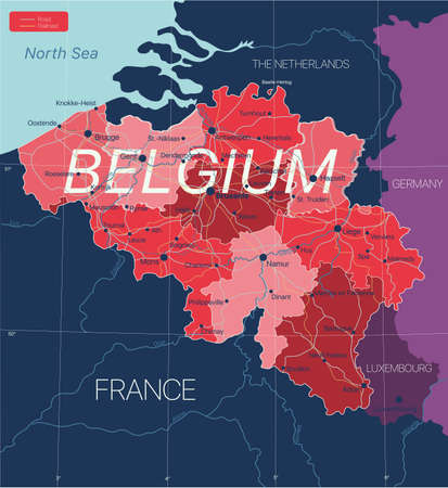 Belgium country detailed editable map with regions cities and towns, roads and railways, geographic sites.