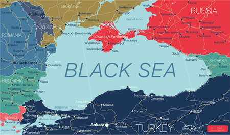 Black Sea region detailed editable map with regions cities and towns, roads and railways, geographic sites. Illustration