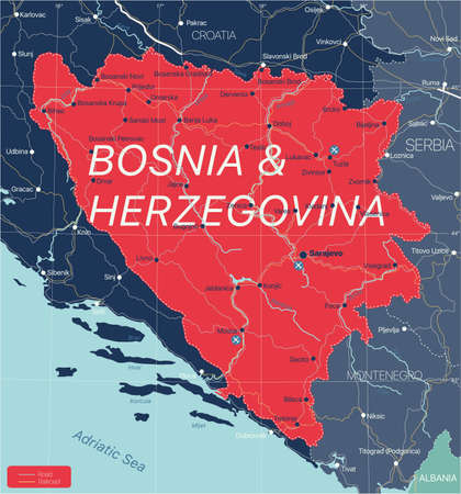Bosnia and Herzegovina country detailed editable map with regions cities and towns, roads and railways, geographic sites.