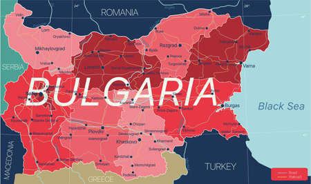 Bulgaria country detailed editable map with regions cities and towns, roads and railways, geographic sites.