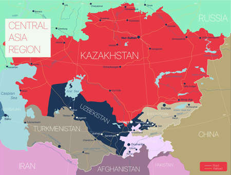 Central Asia region detailed editable map with regions cities and towns, roads and railways. Illustration